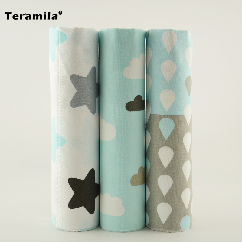 40cmx50cm Teramila Light Blue and White Color Twill Cotton Fabric Raindrop/cloud/star Style Scrapbooking Desk Decoration Pillows