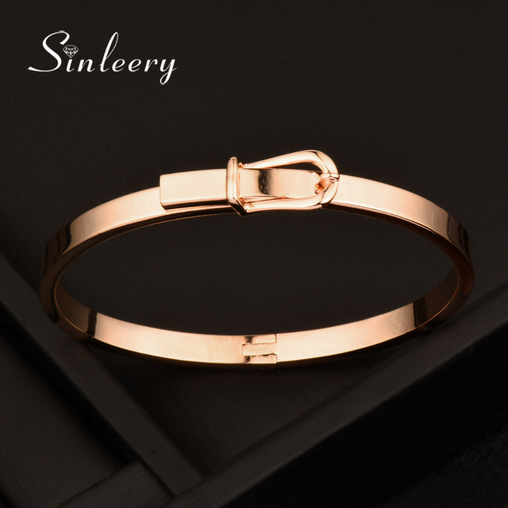 SINLEERY 2017 Trendy No Stone Smooth Women Belt Bangle Bracelets Cuff Rose/White Gold Color Pulseira Feminina Sl339