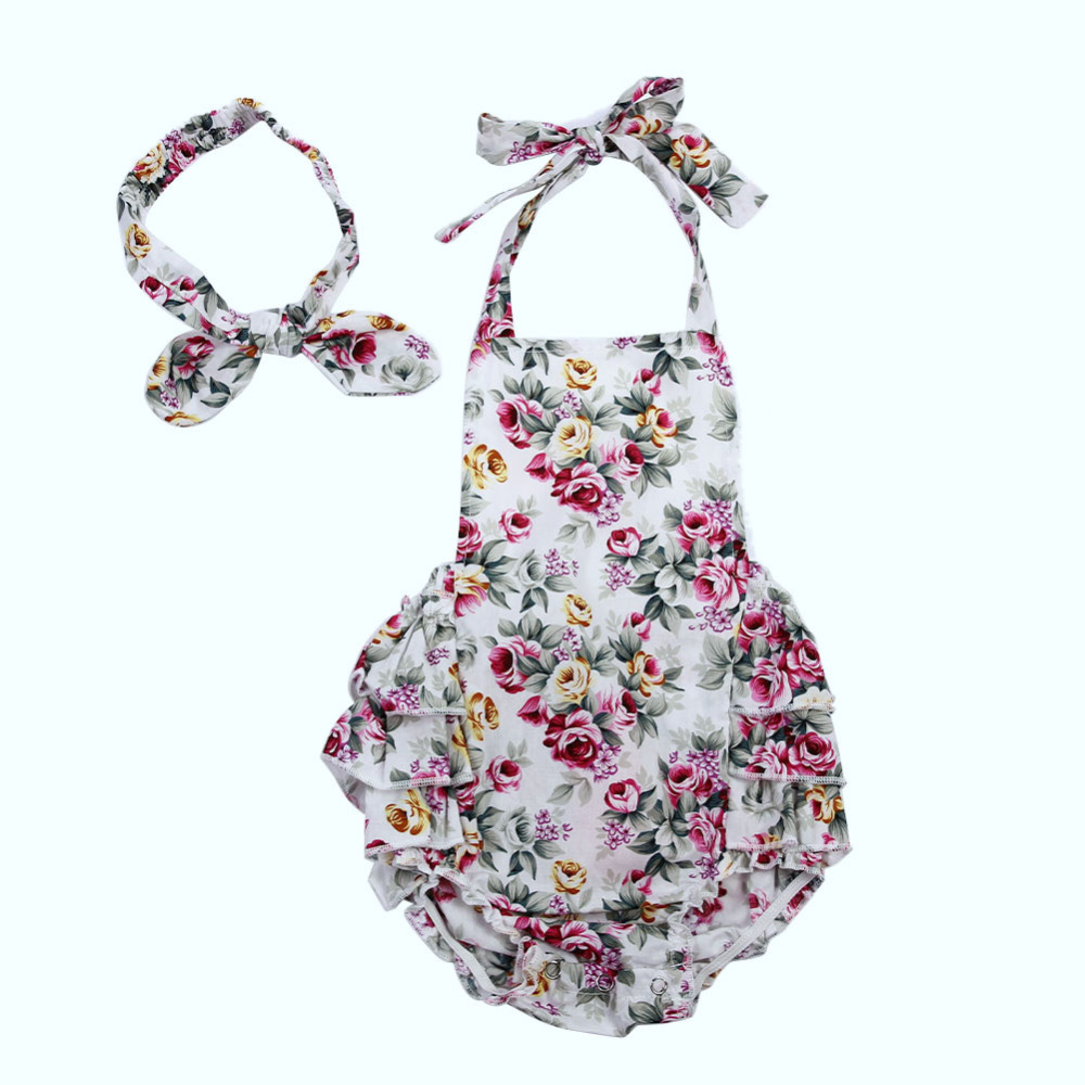 Yenidoğan Bebek Kız Romper Çiçek Halter Sunsuit Yaz Playsuit ile Ruffles Backless Toddler Jumpsuiti Kafa Kıyafetleri 2017