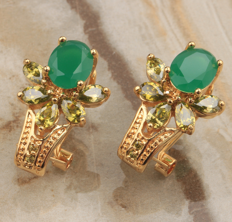 Popular Oval Green Multicolor Multigems Peridot Garnet Limited Gold Color Studs Earrings For Women Free Shipping S0926