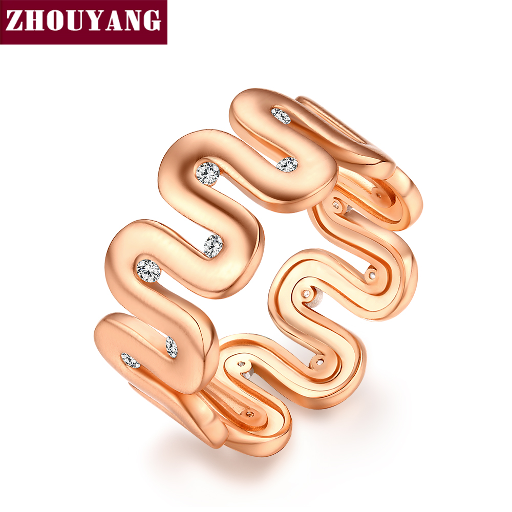 Top Quality Fashion Design Wire Drawing Process Rose Gold Color Ring Austrian Crystals Full Sizes Wholesale ZYR372 ZYR373